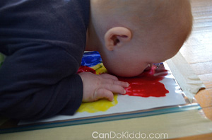 Tummy Time Finger Painting Sensory Play