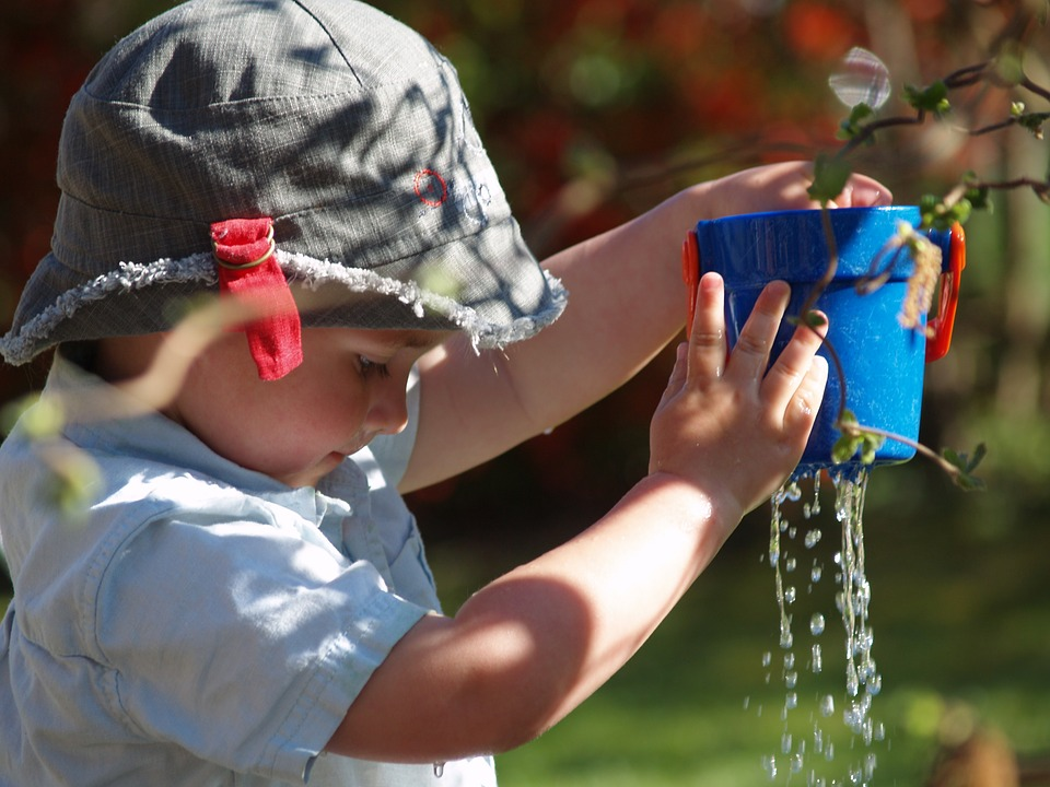 plant pots which already have holes are great for filling and pouring activities.