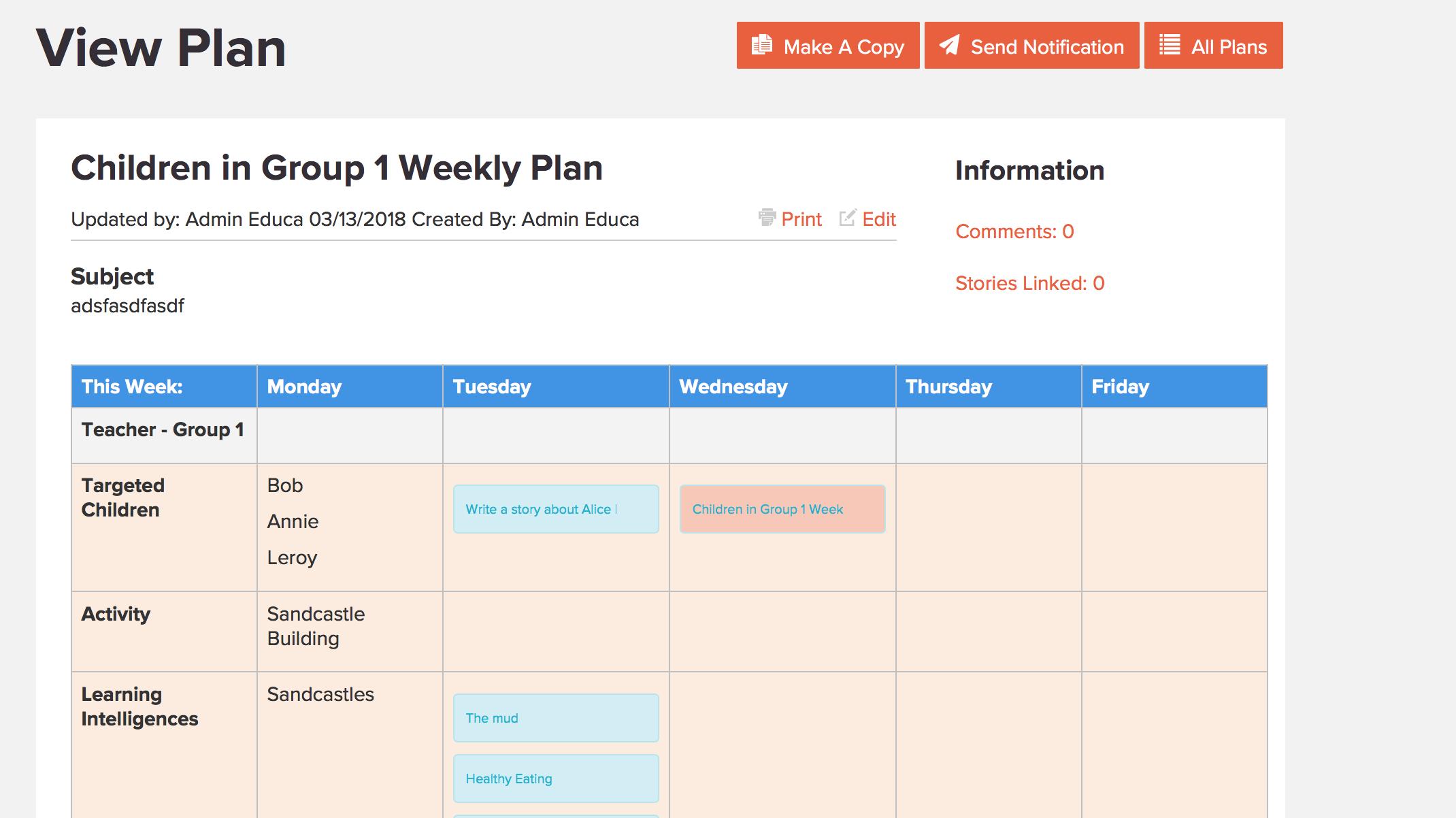 Educa planning software