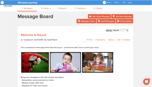 childcare software home page